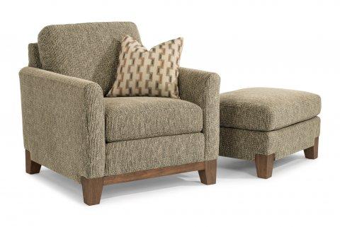 Hampton Fabric Chair 7006-10 and Ottoman 7006-08 in 716-00