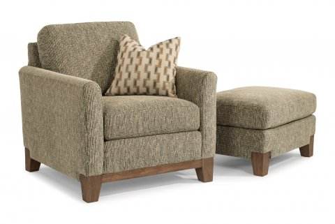 Hampton Fabric Chair 7006-10 and Ottoman 7006-08 in 716-00