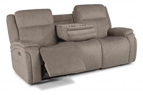 Fabric Power Reclining Sofa With Power Headrests