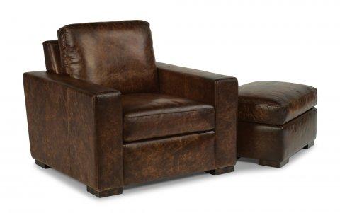 PrescottLeather Chair 1522-10 & Ottoman 1522-08 in 600-70
