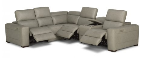 Lexon MOD Leather Power Reclining Sectional with Power Headrests 1121-SECTPH shown with 57PH, 19, 231, 59PH, 73, & 58PH pieces in 988-01