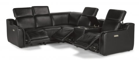 Leather Power Reclining Sectional With Power Headrests
