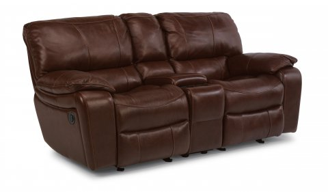 Flexsteel Miles Leather Power Recliner Loveseat With Console