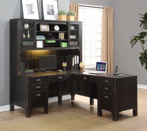 Homestead L-Shaped Desk W1337-741 & Hutch W1337-747