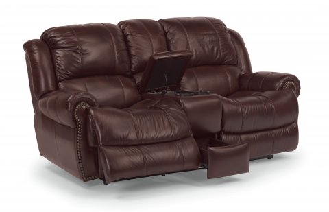 Capitol Leather Power Reclining Loveseat with Console 1311-604P in 006-54