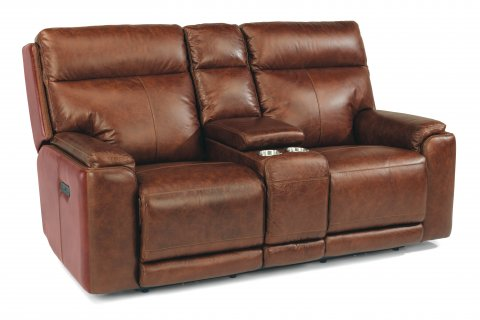 Sienna Leather Power Reclining Loveseat with Console and Power Headrests 1675-64PH in 361-54