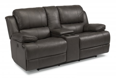 Simon Leather Power Reclining Loveseat with Console 1831-604P in 453-70
