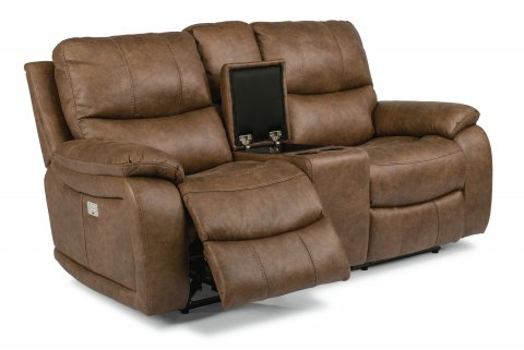 Hendrix Fabric Power Reclining Loveseat with Console and Power Headrests 1193-64PH in 498-72