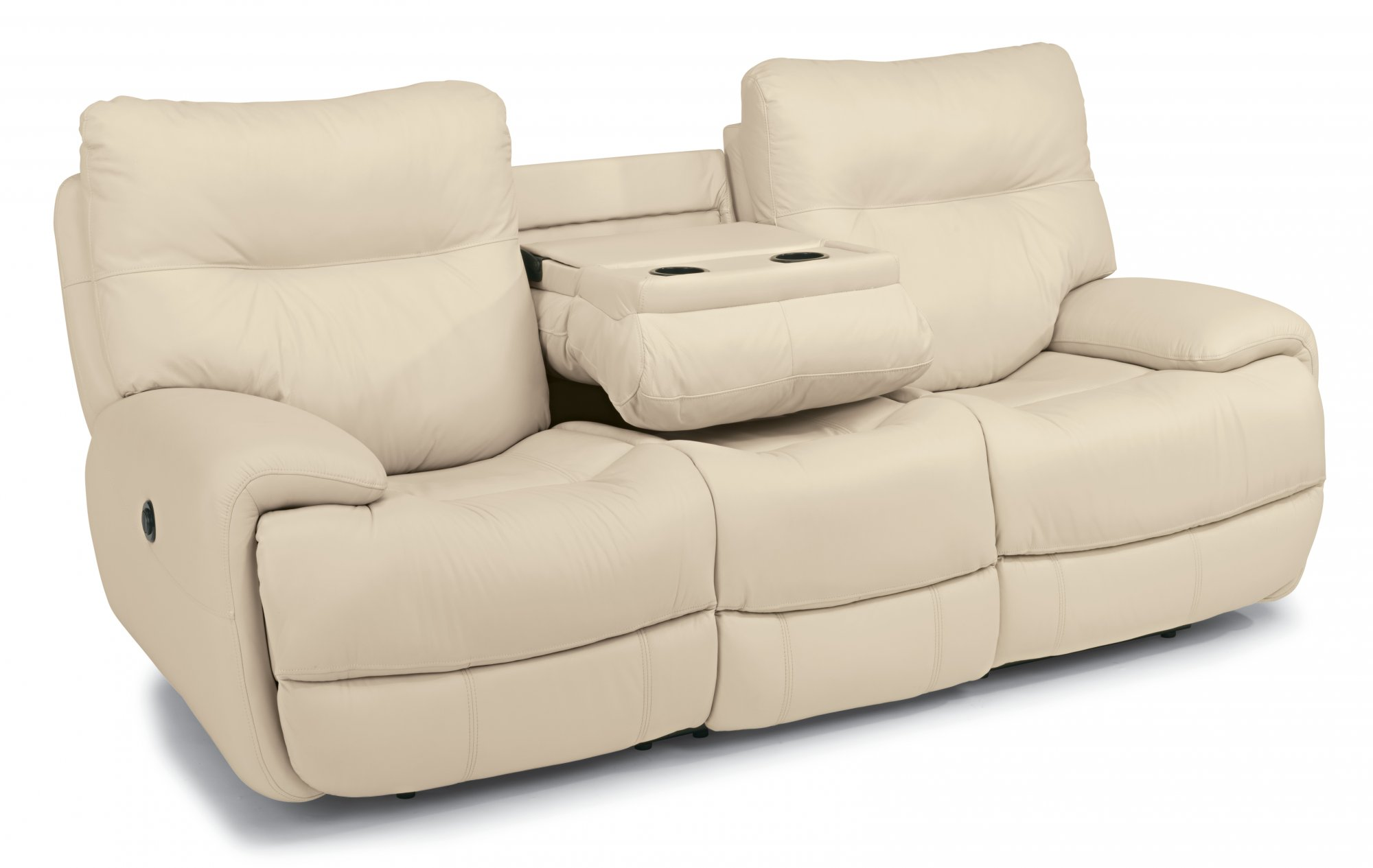 Evian Leather Power Reclining Sofa W C Shaped Arms