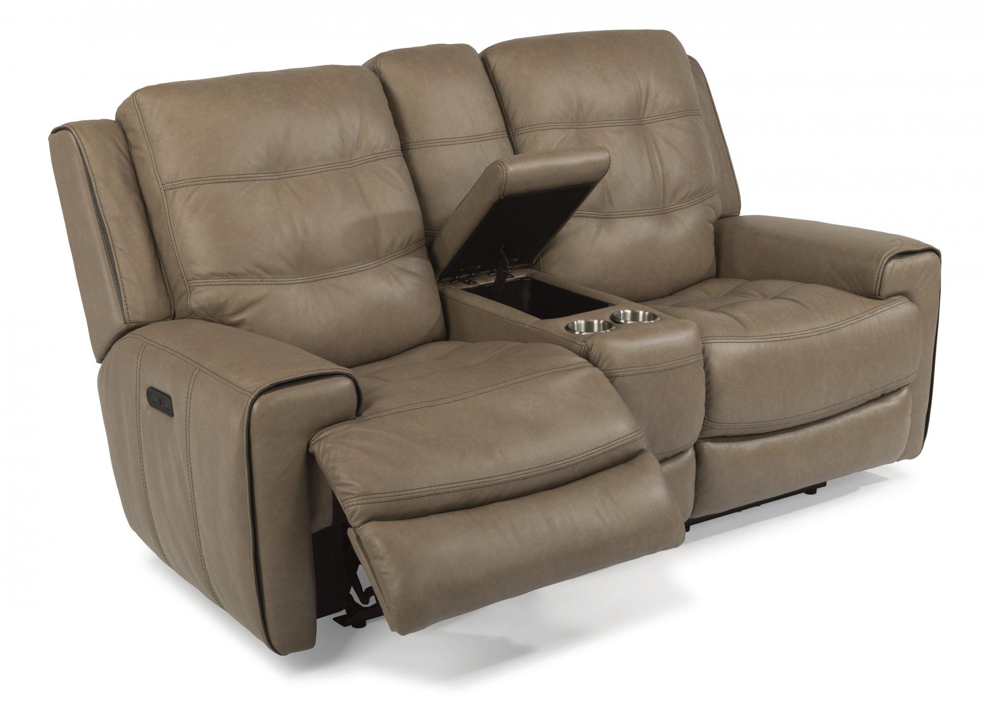 100 Flexsteel Living Room Leather Sofa